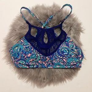 Xhilaration   Blue & Pink Paisley Print Bikini Top